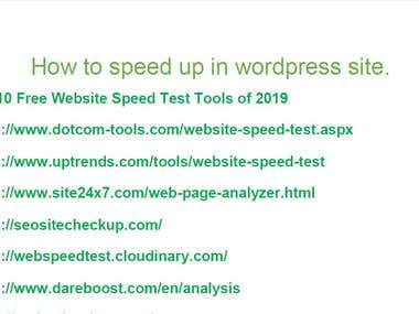 Write a document that explains how to improve the speed of a