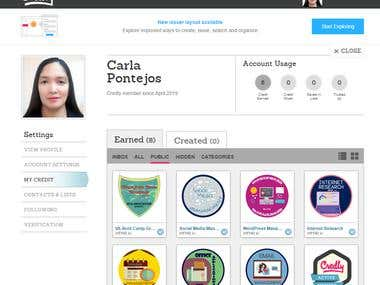 Credley Badges and Virtual Assistant training certificate.