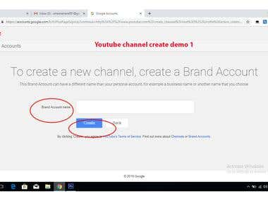 You Tube Channel Create