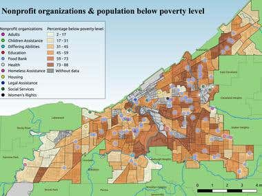 Nonprofit organizations and Poverty Level in Cleveland