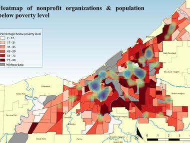 Heatmap of nonprofit organizations and poverty level
