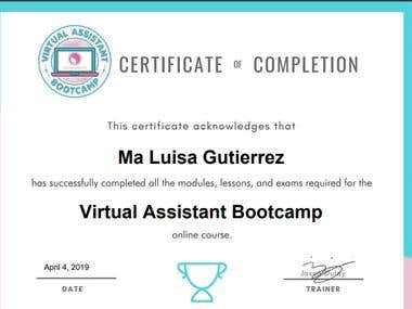 Certificate of completion in Virtual Assistant Bootcamp