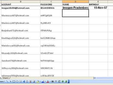 Data entry into ms-excel sheet.