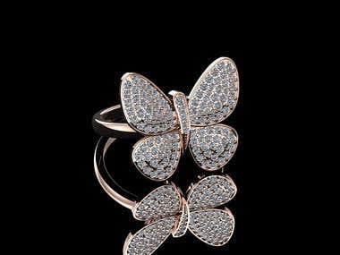 Butterfly Ring Design with Rendering