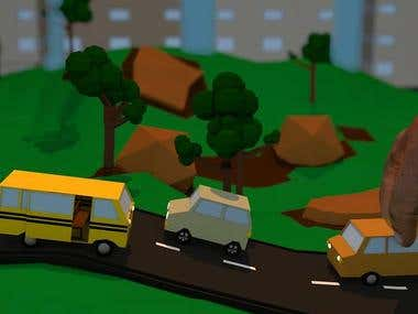 low poly Town