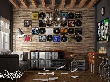 Music room interior design.