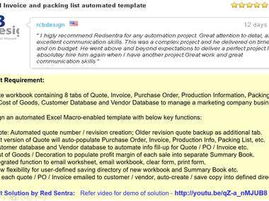 Excel Quote, PO, and Invoice Automated Template