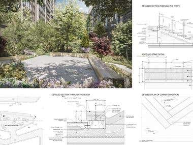 Landscape spaces with architectural details and plans