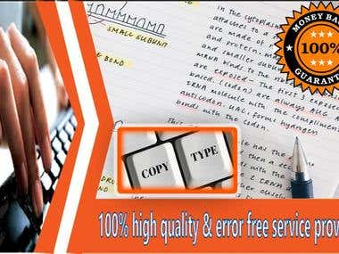 HAND WRITING COPY TYPING