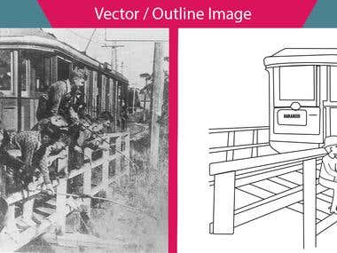 Image to Vector Outline work.