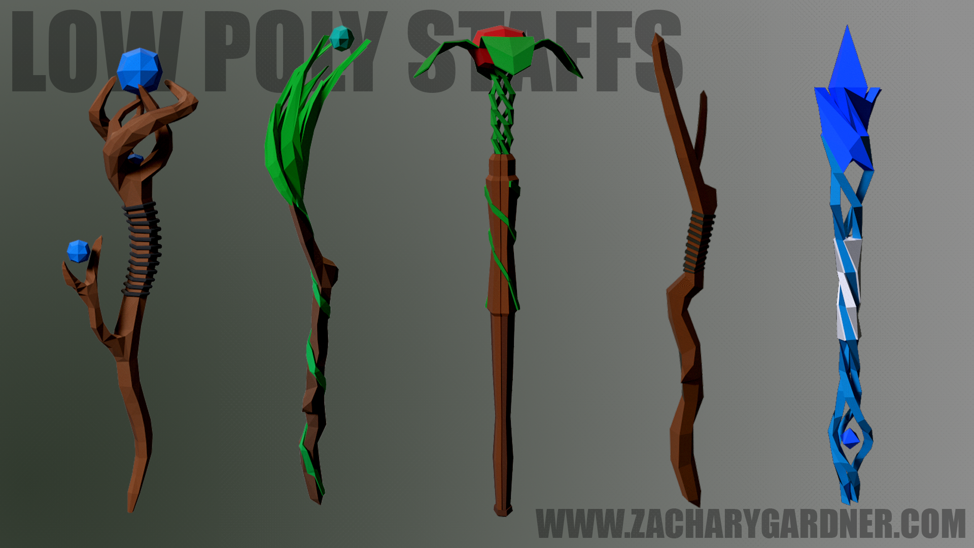 Low poly staffs I made for a Roblox game