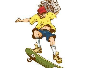 Retro Drawing of Skateboarder