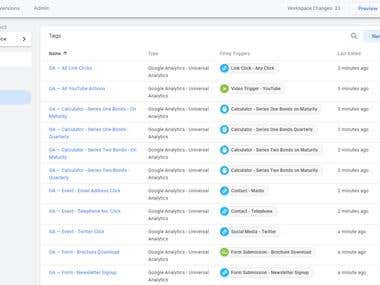 Google Tag Manager - Interface Example