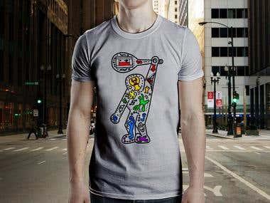 Keith Haring-based t-shirt design for LGBTQ Tennis team