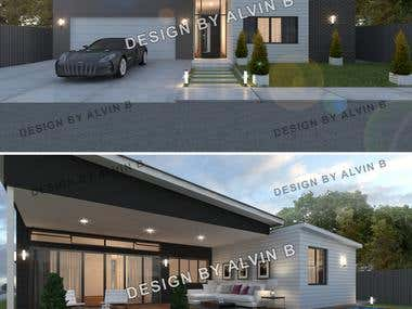 3D Rendering Day and Night Scene