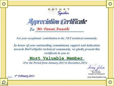 Most Valuable Member 2012 by DotNetSpider.com