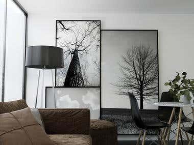 Modern interior render desing
