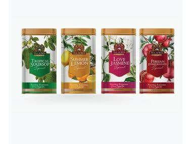 Gold Tea Can Label Design