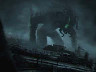 Digital painting: Cthulhu Rises