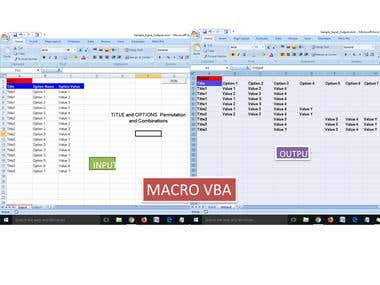 EXCEL MAcro for Options and combinations