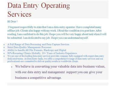 Data Entry Operating Services