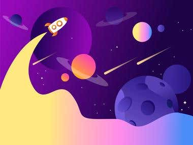 vector color full space Art