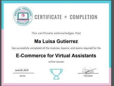 CERTIFICATE OF TRAINING IN E-COMMERCE FOR VIRTUAL ASSISTANT