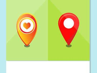 Map location marker icon illustration