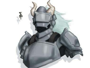Digital Painting - Horned Warrior