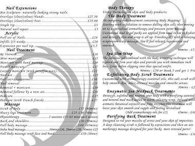 Price List / Opening Time / Beauty Salon