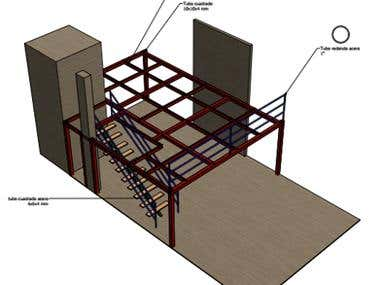 Design and construction of the local mezzanine building Emp