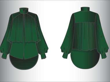 MODESTIA WOMAN BLOUSE technical drawing + tech pack
