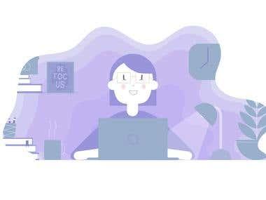 flat design work environment illustration