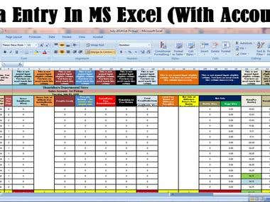 Data Entry (in MS Excel)
