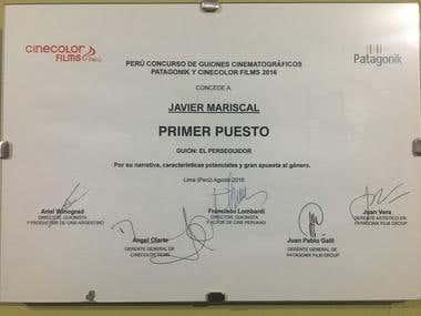 Diploma Primer Premio - Concurso de Guiones de Cine