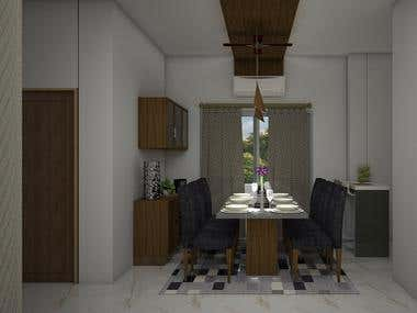 Samples of Dining Area and False ceiling renders