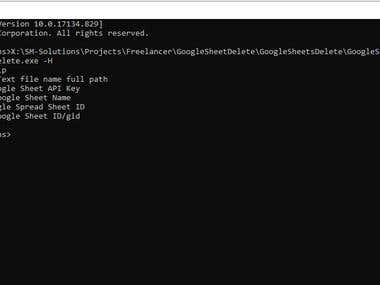 Google Sheet API Console application