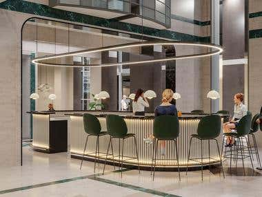 Lobby refurbishment at Bank Center Office Building