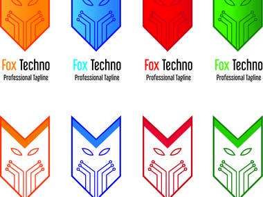 Fox Techno Logo with 4 Color Variants