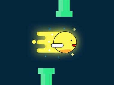Flappy Bird Icon with MBE Style (Night Time)