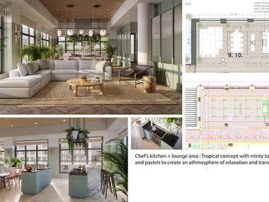 Brief design boards of amenity spaces