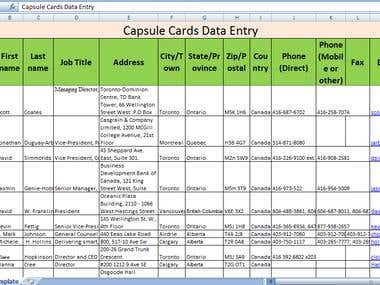 Business card entry into Excel template