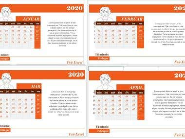 Excel calendar.