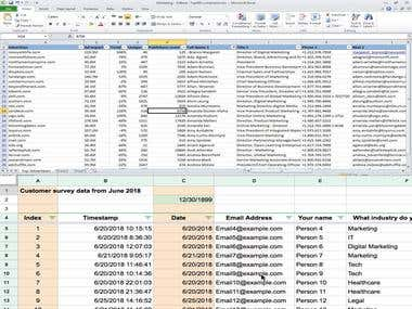 Experience in data Entry, Excel web search