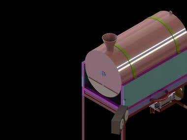 3D modelling of groundnut roasting machine