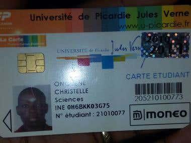 STUDENT' CARD PICARDIE JULES VERNE AMIENS - FRANCE