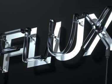 FLUX - Fully Detailed Neon Sign Design & Render