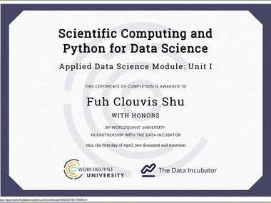 Scientific Computing and Python for Data Science