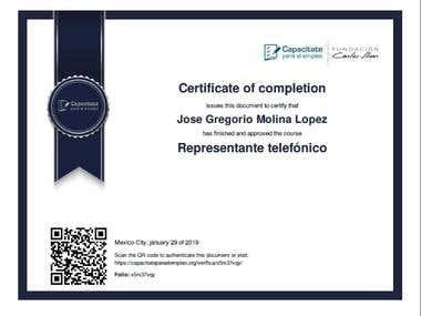 Certificado de Representante de Atención telefónica