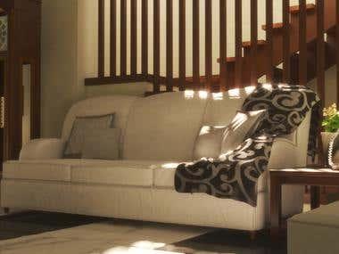 Minimalist Couch Scene